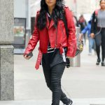 Becky G Wears a Red Leather Jacket in New York City