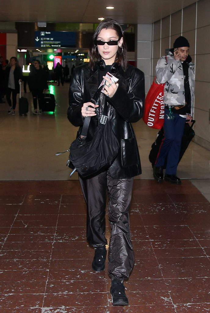 Bella Hadid Arrives at Roissy Airport in Paris-1