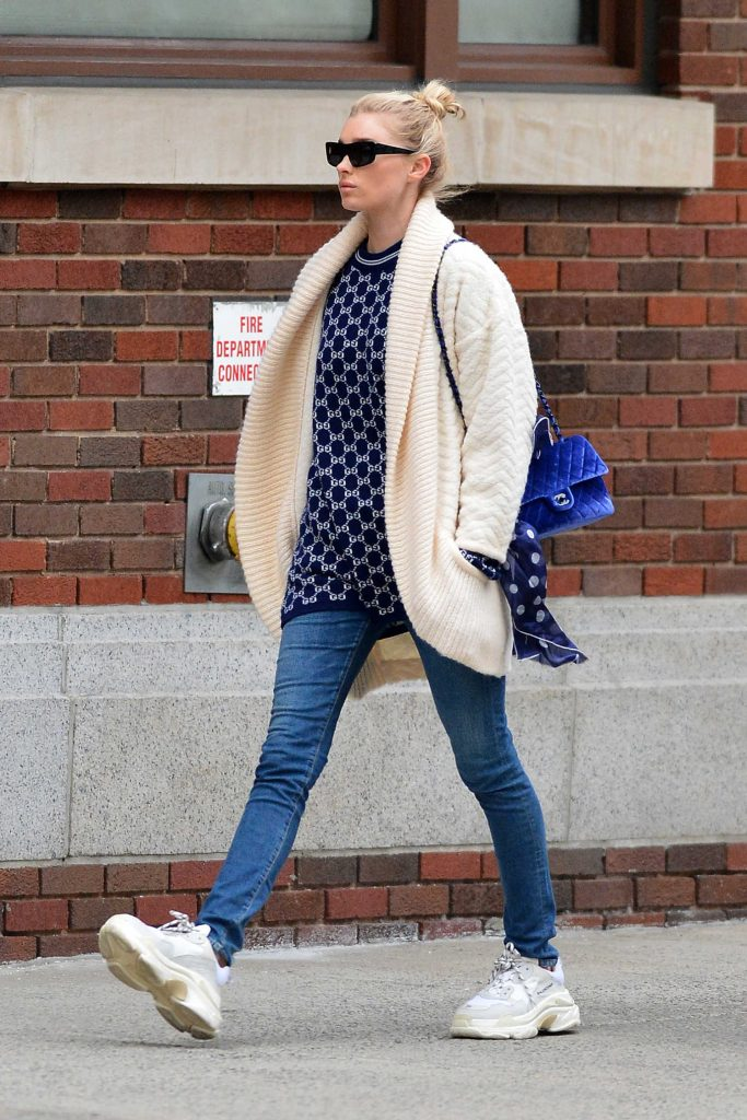 Elsa Hosk Wears a Cream Colored Cardigan Out in NYC-1