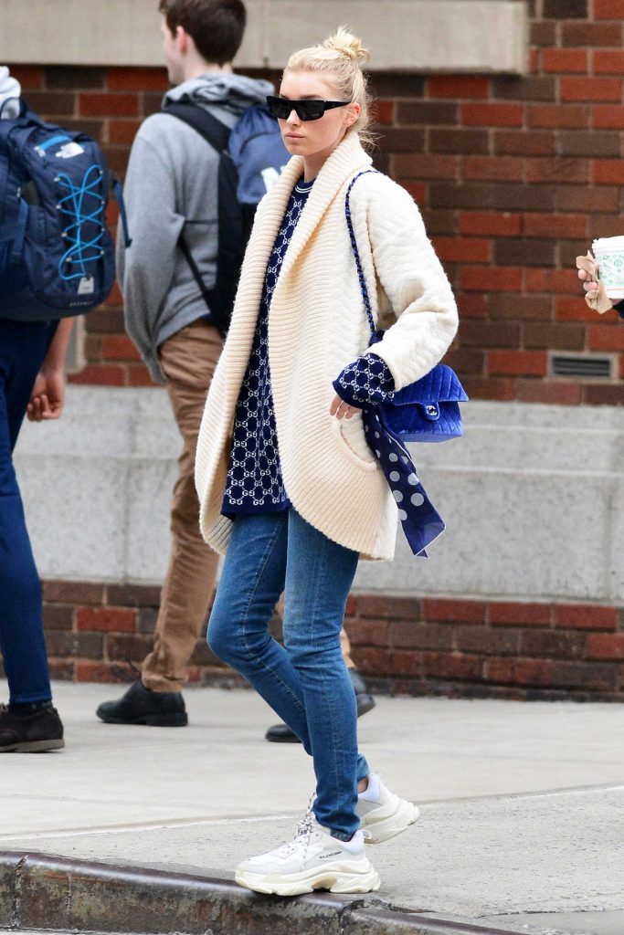 Elsa Hosk Wears a Cream Colored Cardigan Out in NYC-4