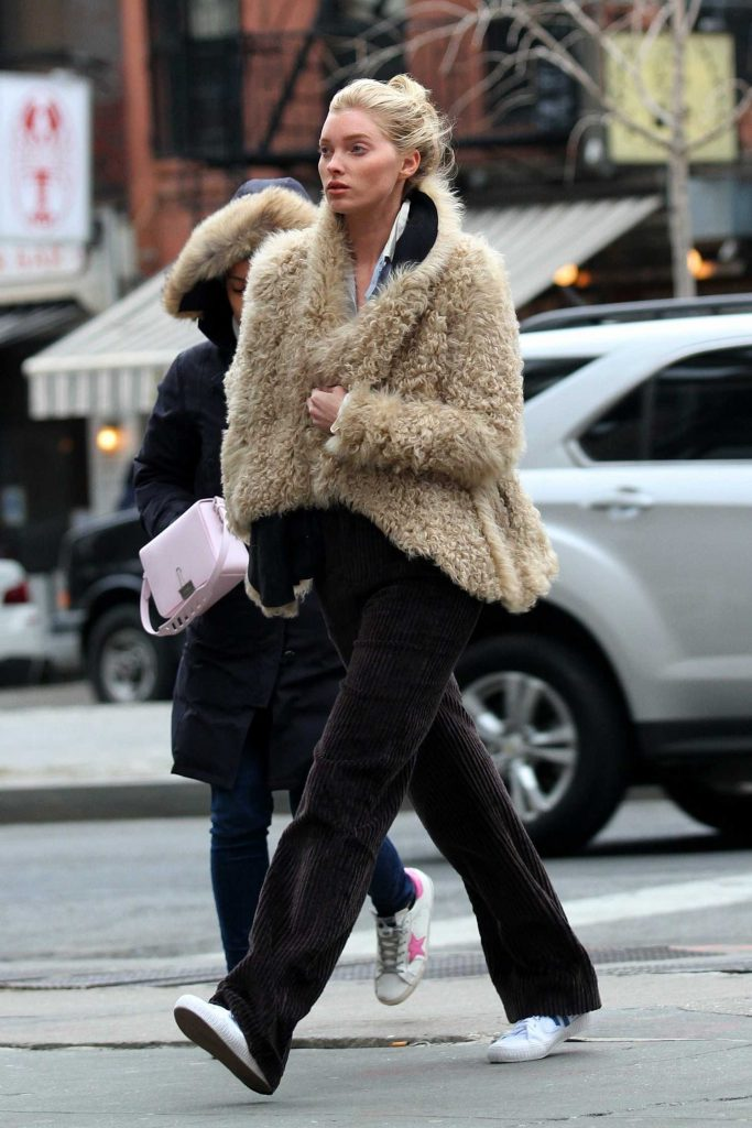 Elsa Hosk Wears a Faux Sheep Fur Jacket Out in Soho, NY-1