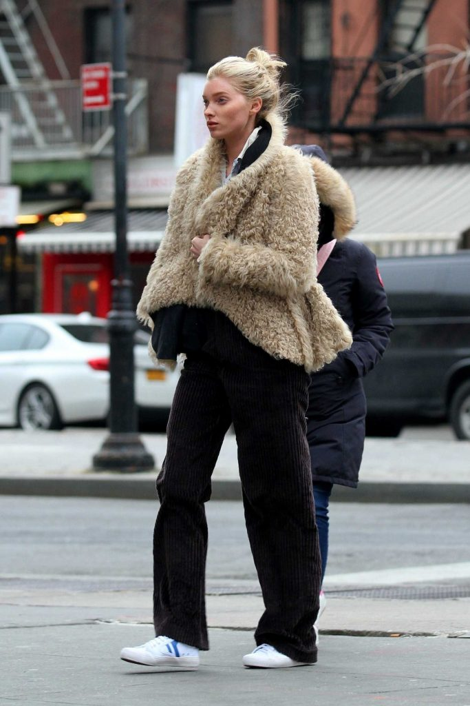 Elsa Hosk Wears a Faux Sheep Fur Jacket Out in Soho, NY-2