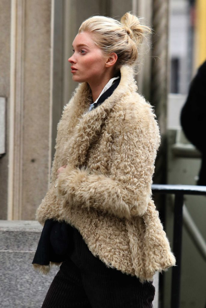 Elsa Hosk Wears a Faux Sheep Fur Jacket Out in Soho, NY-4