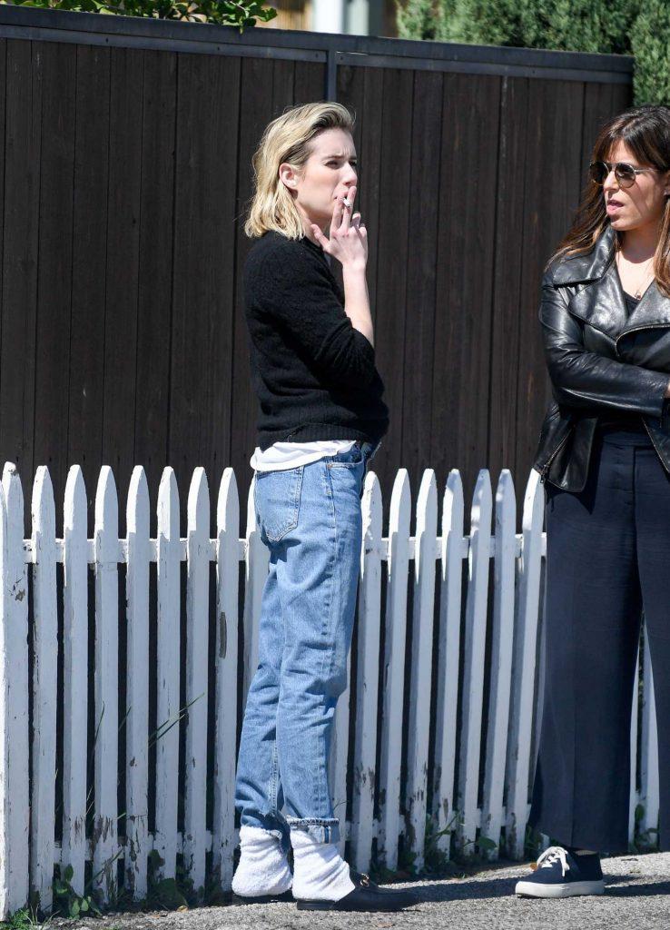 Emma Roberts Was Spotted on a Smoke Break in LA-4