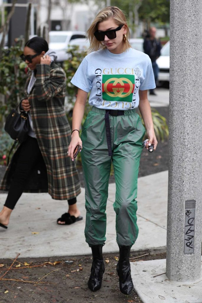 Hailey Baldwin Wears a Gucci T-Shirt Out in West Hollywood-1