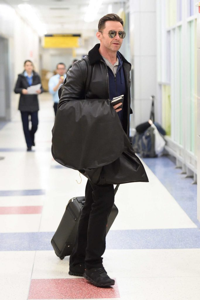 Hugh Jackman Wears a Black Leather Jacket at JFK Airport in NYC-3