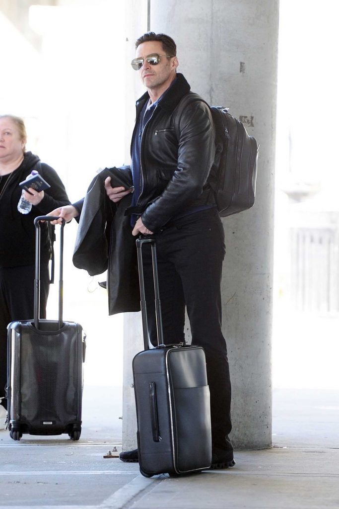 Hugh Jackman Wears a Black Leather Jacket at JFK Airport in NYC-5