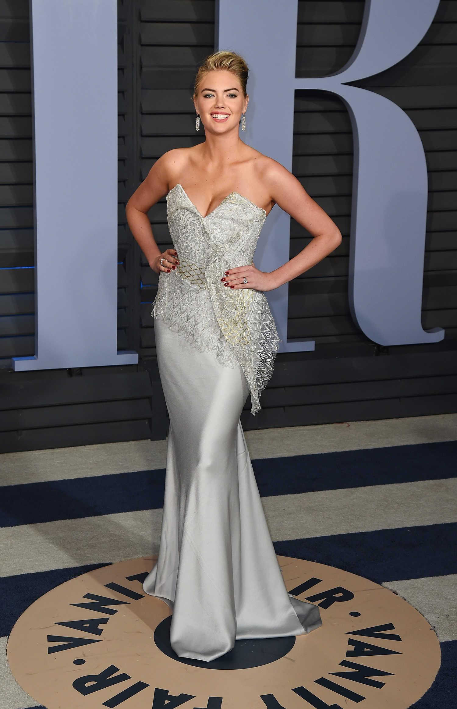 Kate Upton deep cleavage in long dress at 2018 Vanity Fair