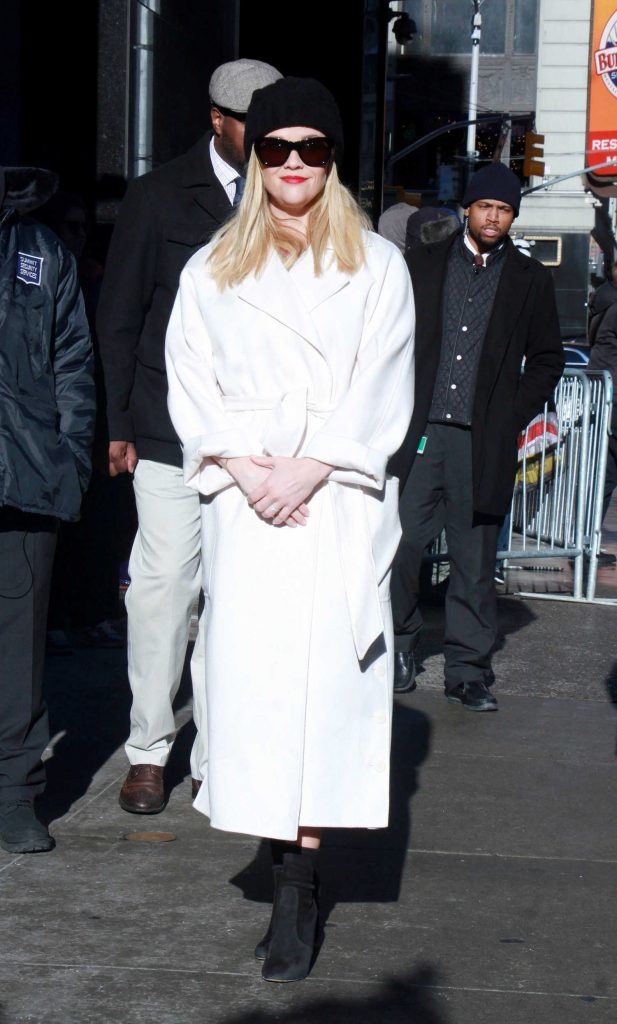 Reese Witherspoon Visits GMA in Wintery White Coat in New York-1