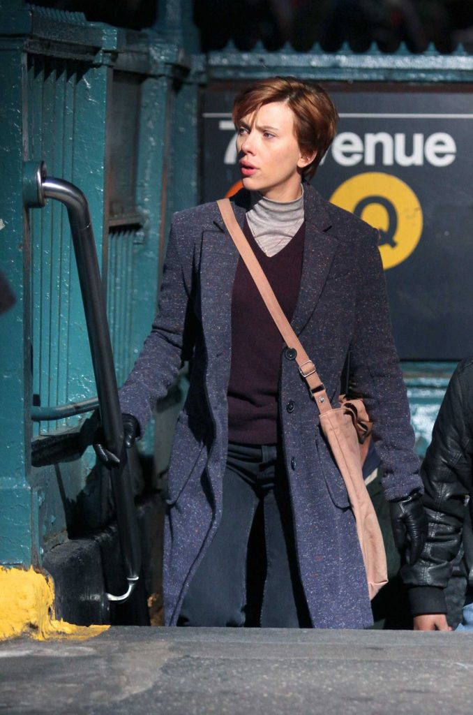 Scarlett Johansson Exits a Brooklyn Train Station while Filming Untitled Film Project in NYC-1