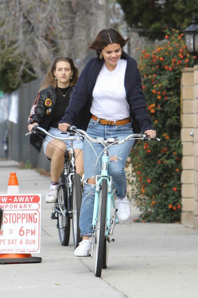 Selena Gomez Rides Her Bike in Studio City-2