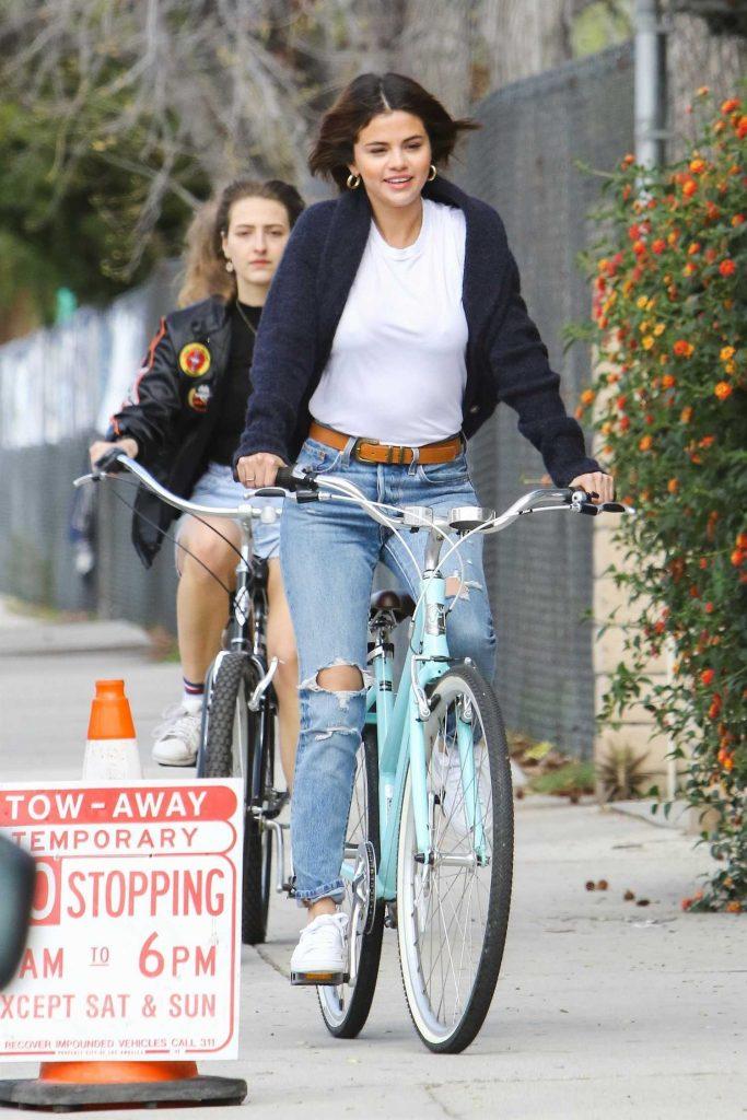 Selena Gomez Rides Her Bike in Studio City-4