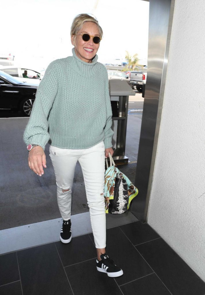 Sharon Stone Signs Autographs at LAX Airport in Los Angeles-1