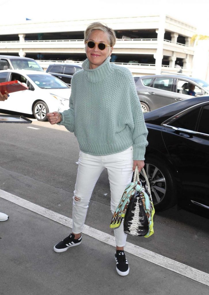 Sharon Stone Signs Autographs at LAX Airport in Los Angeles-5