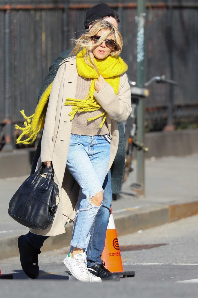 Sienna Miller Wears a Yellow Scarf Out in New York City-1
