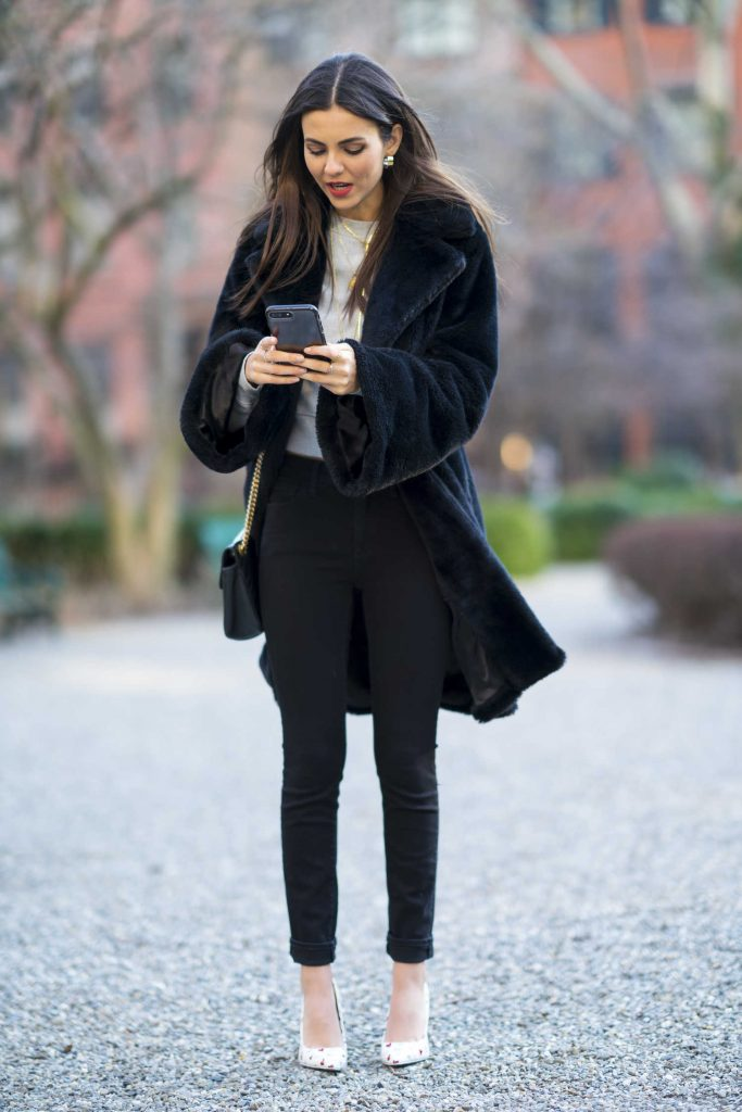 Victoria Justice Wears a Black Coat Out in NYC-1