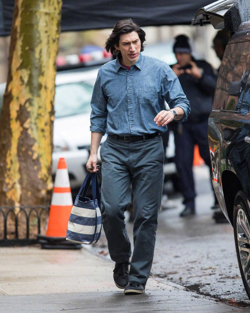 Adam Driver on the Set of Untitled Noah Baumbach Project in Park Slope in Brooklyn-1