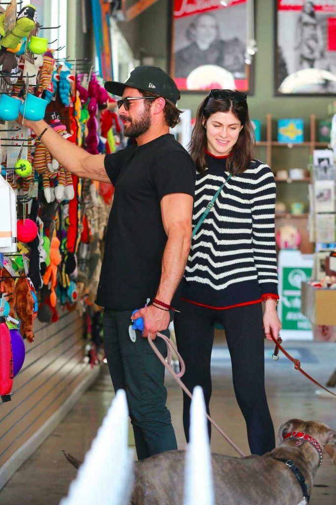 Alexandra Daddario and Zac Efron are Shopping for Their Dogs in Los Angeles-1