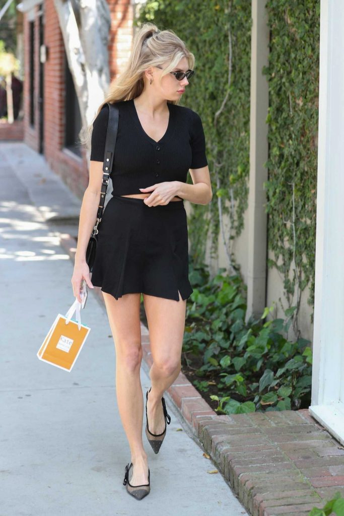 Charlotte McKinney Wears a Black Two Piece Outfit on Melrose Place in West Hollywood-4