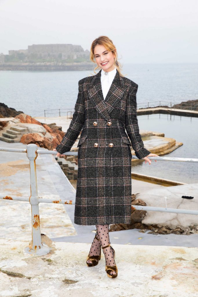 Lily James at The Guernsey Literary and Potato Peel Pie Society Photocall in Guernsey-1