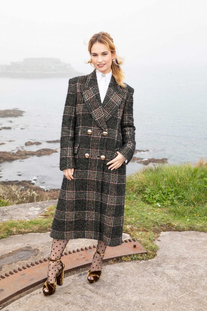Lily James at The Guernsey Literary and Potato Peel Pie Society Photocall in Guernsey-2