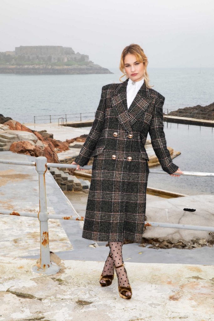 Lily James at The Guernsey Literary and Potato Peel Pie Society Photocall in Guernsey-3