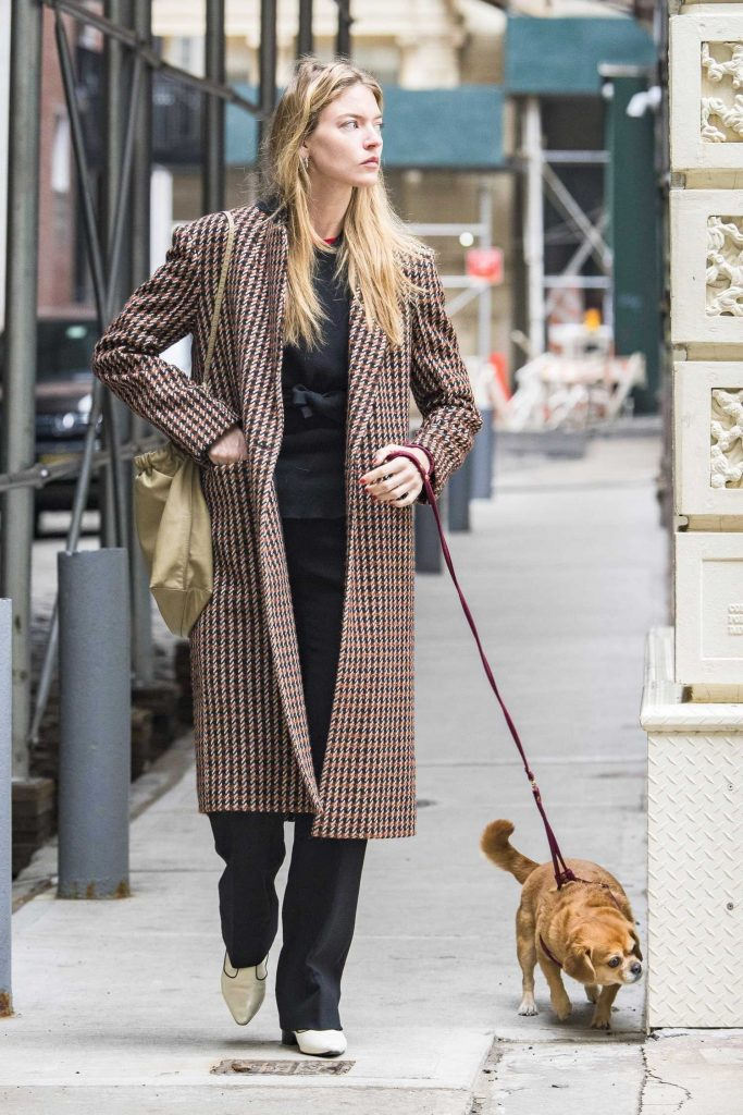 Martha Hunt Takes Her Dog Out for a Walk in NYC-1