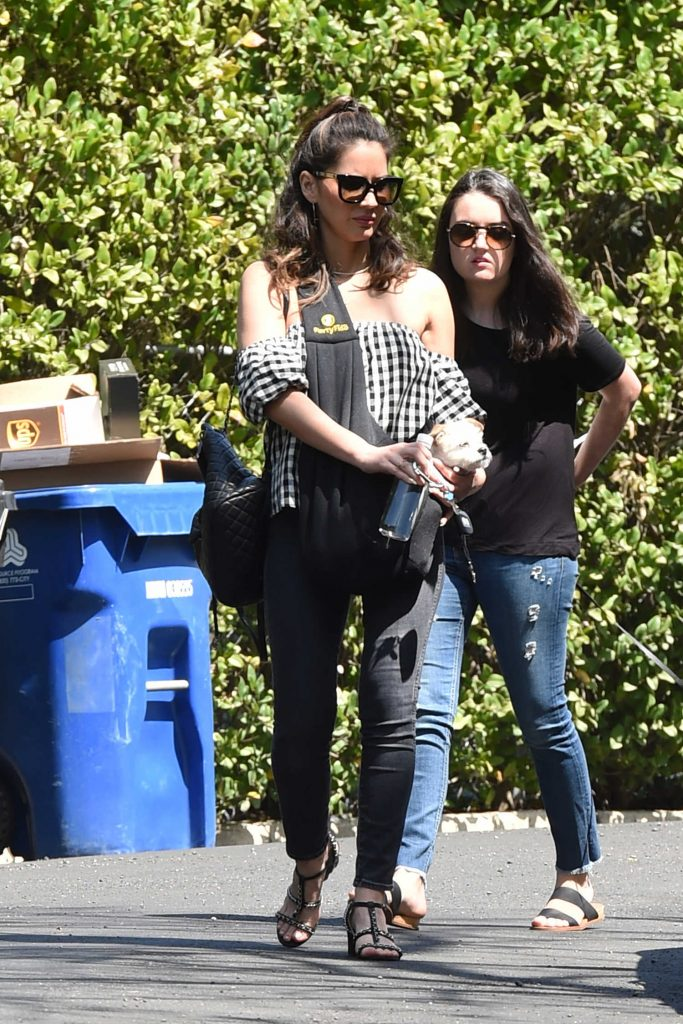 Olivia Munn Carrying Her Dog in Los Angeles-2