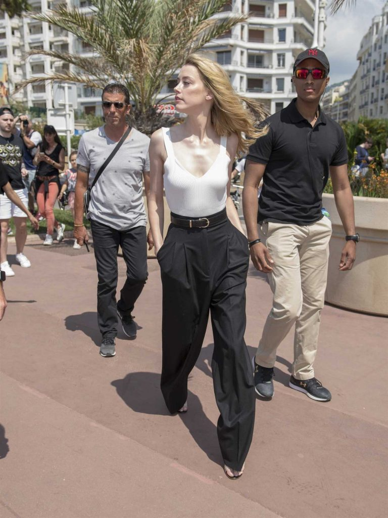 Amber Heard Wears a White Vest Out in Cannes-2