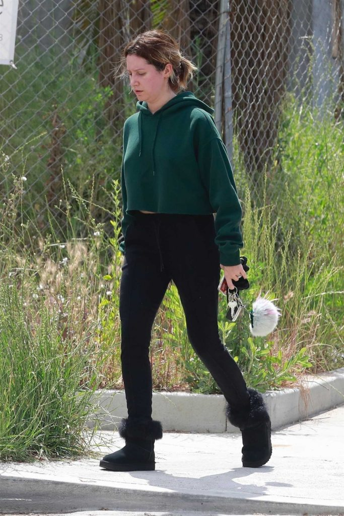 Ashley Tisdale Wears a Green Sweatshirt Out in Los Angeles-4
