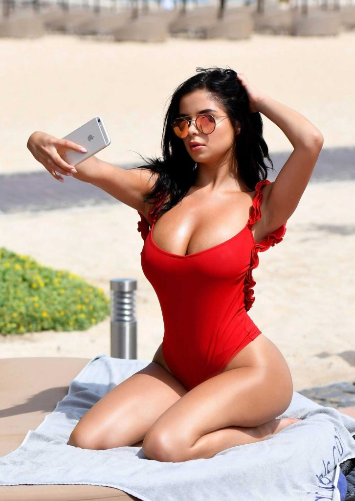 Demi Rose Wears a Red Thong Swimsuit in Cape Verde-2
