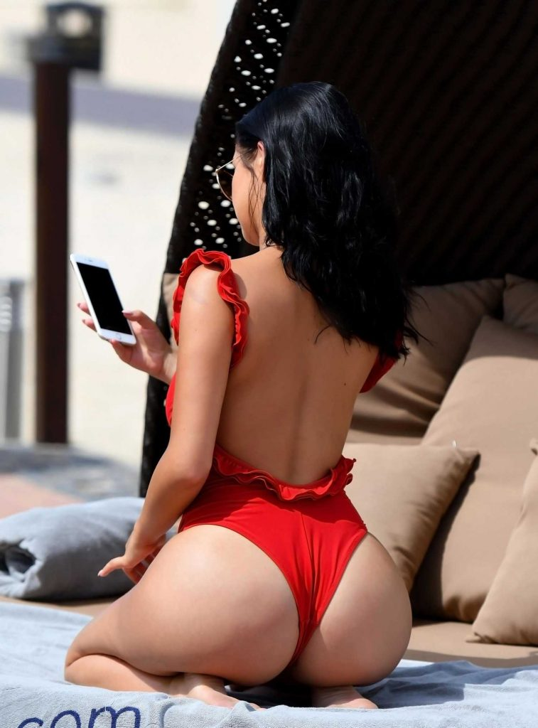 Demi Rose Wears a Red Thong Swimsuit in Cape Verde-4