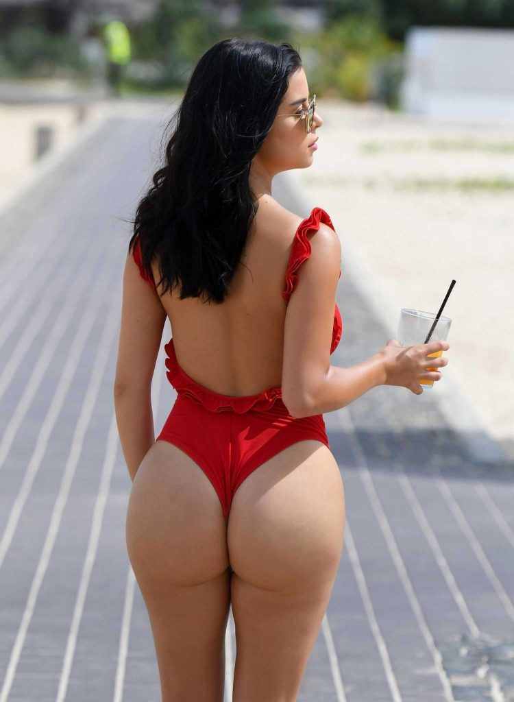 Demi Rose Wears a Red Thong Swimsuit in Cape Verde-5