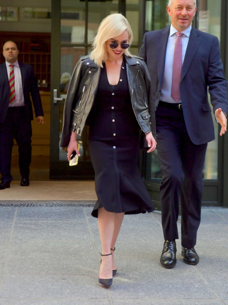 Emilia Clarke Heads to the Tonight Show in New York-3