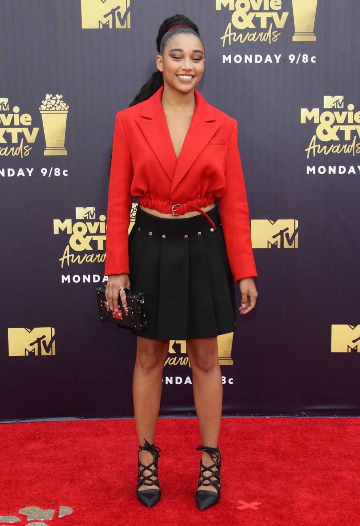 Amandla Stenberg Attends the 2018 MTV Movie and TV Awards in Santa Monica-1