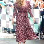 Amy Adams Arrives at AOL Build Series in a Purple Flower Print Dress in New York City