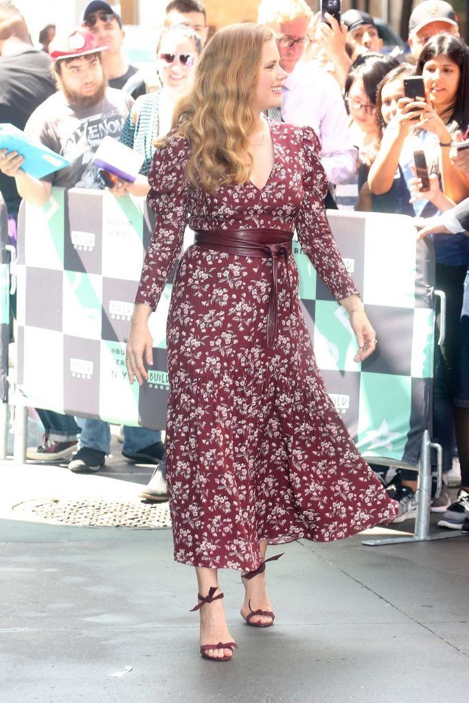 Amy Adams Arrives  at AOL Build Series in a Purple Flower Print Dress in New York City-1