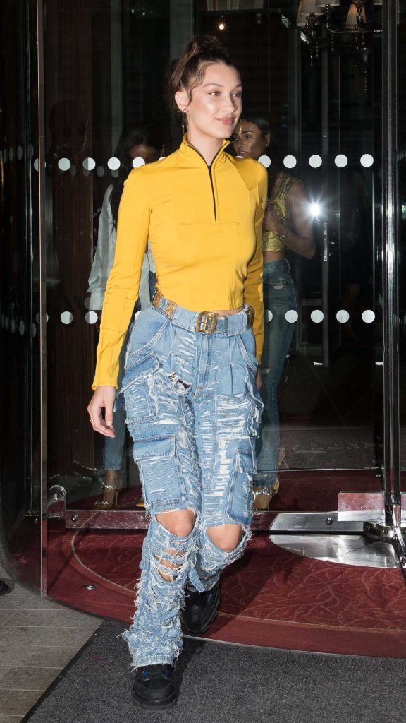 Bella Hadid Leaves the Royal Monceau Hotel in Paris-1