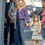 Drew Barrymore Arrives at Jimmy Kimmel Live with Her Daughters in Hollywood