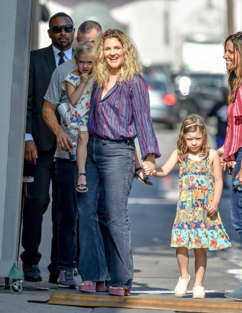 Drew Barrymore Arrives at Jimmy Kimmel Live with Her Daughters in Hollywood-1
