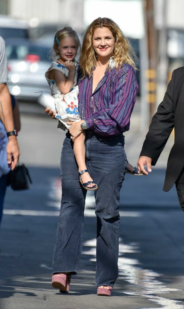 Drew Barrymore Arrives at Jimmy Kimmel Live with Her Daughters in Hollywood-3