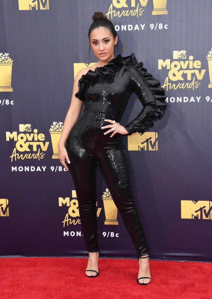 Francia Raisa Attends the 2018 MTV Movie and TV Awards in Santa Monica-1