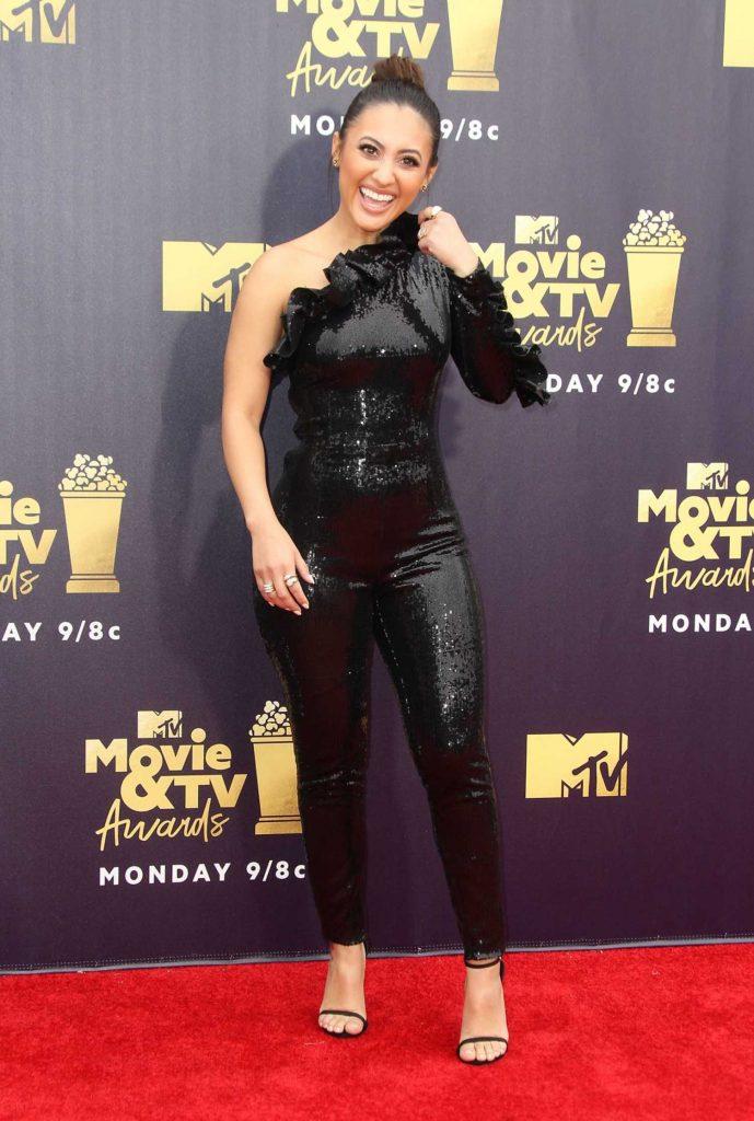 Francia Raisa Attends the 2018 MTV Movie and TV Awards in Santa Monica-3