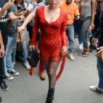 Lady Gaga Wears a Red Dress Out in New York City