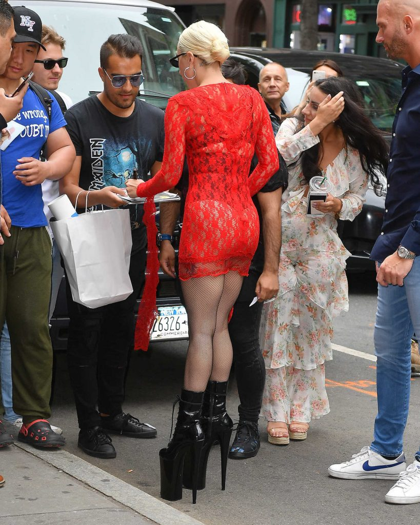 Lady Gaga Wears a Red Dress Out in New York City-4