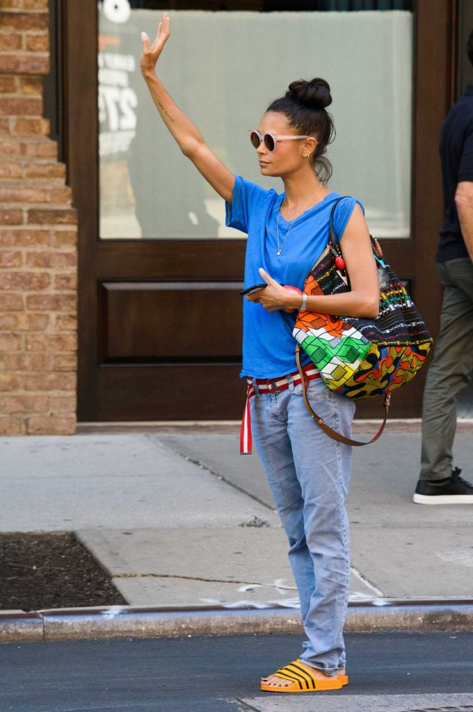Thandie Newton Hails a Taxi in New York City-1
