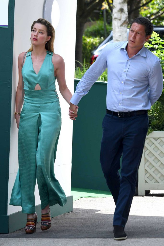 Amber Heard Arrives with Vito Schnabel at Wimbledon in London-1