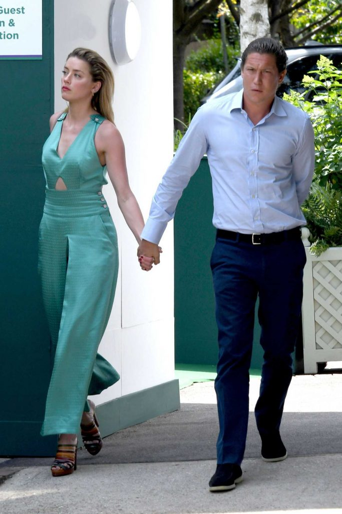 Amber Heard Arrives with Vito Schnabel at Wimbledon in London-2