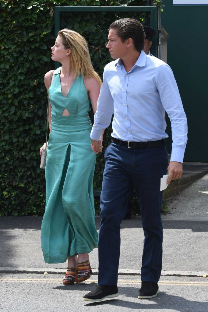 Amber Heard Arrives with Vito Schnabel at Wimbledon in London-4