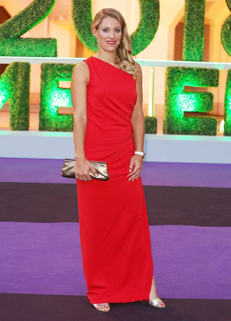Angelique Kerber in a Long Red Dress at 2018 Wimbledon Champions Dinner at Guildhall in London-3